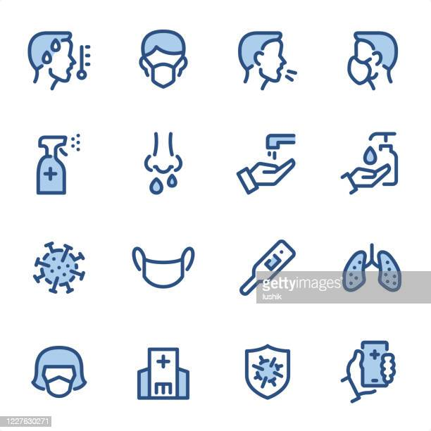 virus prevention - pixel perfect blue line icons - severe acute respiratory syndrome stock illustrations