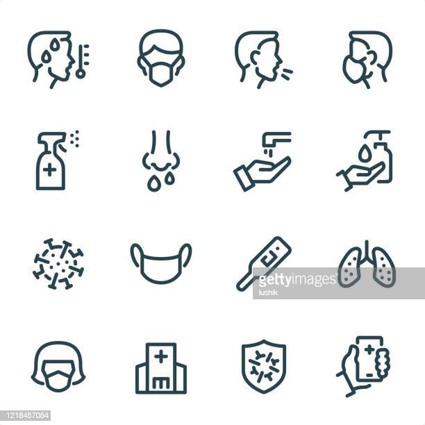 virus prevention - pixel perfect unicolor line icons - commercial land vehicle stock illustrations