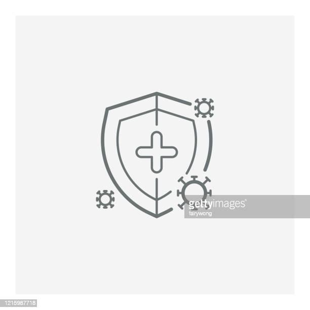illustrazioni stock, clip art, cartoni animati e icone di tendenza di icona di protezione antivirus, virus di protezione covid-19, illustrazione con scudo e virus - difendere