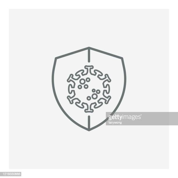virus protection icon,covid-19 protection virus, illustration with shield and virus - immune system stock illustrations