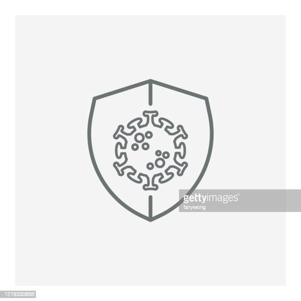 ilustrações, clipart, desenhos animados e ícones de ícone de proteção contra vírus, vírus de proteção covid-19, ilustração com escudo e vírus - immune system