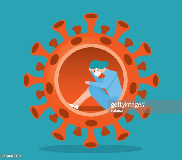 virus - quarantine - woman - coronavirus stock illustrations