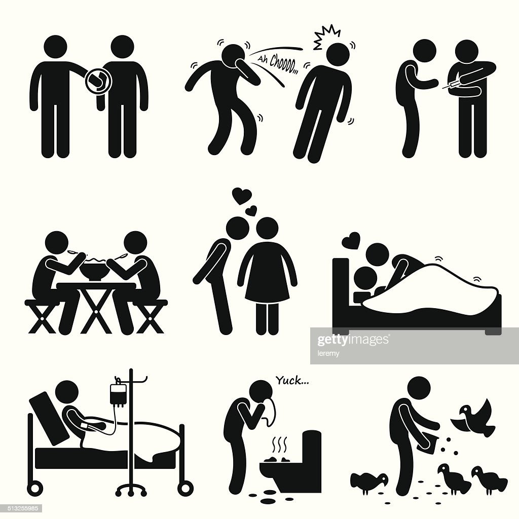 Virus Spread Diseases Transmission Infections Ways Pictogram Icons Clipart