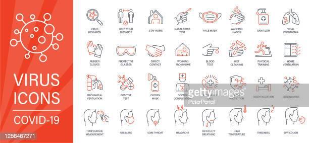 virus - thin line icon set. two colors - red and black. coronavirus vector illustration - glove stock illustrations