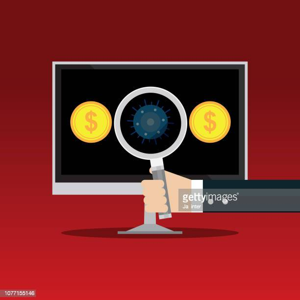 ilustraciones, imágenes clip art, dibujos animados e iconos de stock de trampa de virus - sistema operativo
