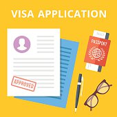 Visa application flat illustration concept. Top view