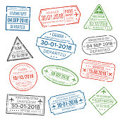 Visa passport stamp for travel. Immigration to China, Italy, Can