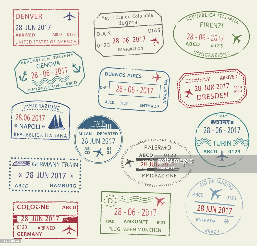 Visa passport stamp symbol set for travel design