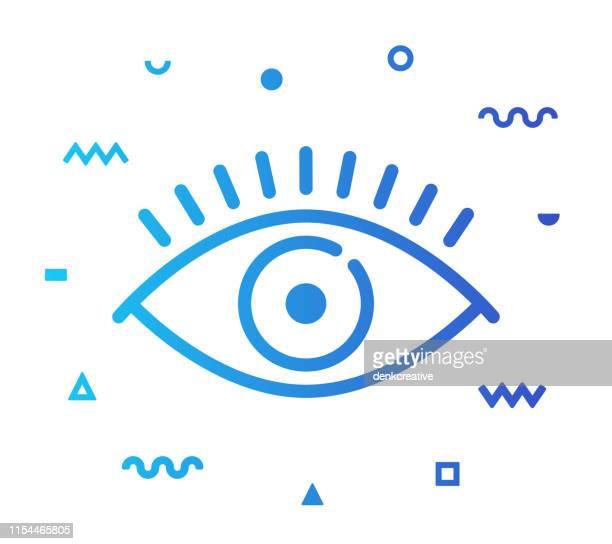 ilustrações de stock, clip art, desenhos animados e ícones de visibility line style icon design - optical art