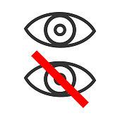 Visible and invisible button. Eye icon. Vector