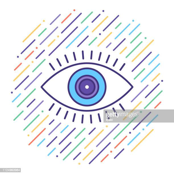 vision check flat line icon illustration - eye chart stock illustrations