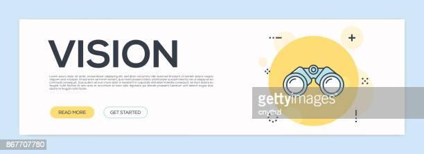 ilustraciones, imágenes clip art, dibujos animados e iconos de stock de concepto de visión - línea plana web banner - determinación