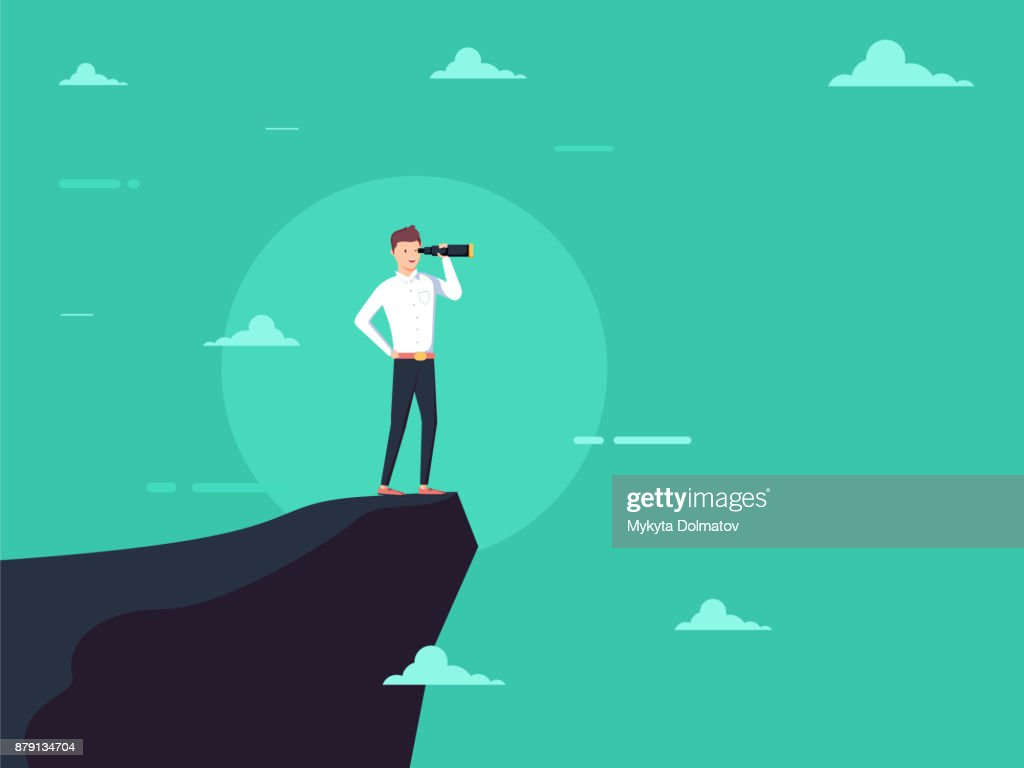 Vision concept in business with vector icon of businessman and telescope, monocular. Symbol leadership