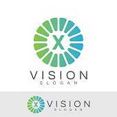 vision initial Letter X icon design