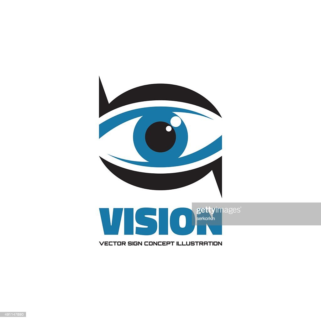 Vision - vector sign creative illustration. Eye concept sign.