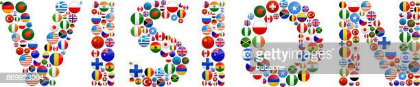 vision world flags vector buttons. - visual china group stock illustrations