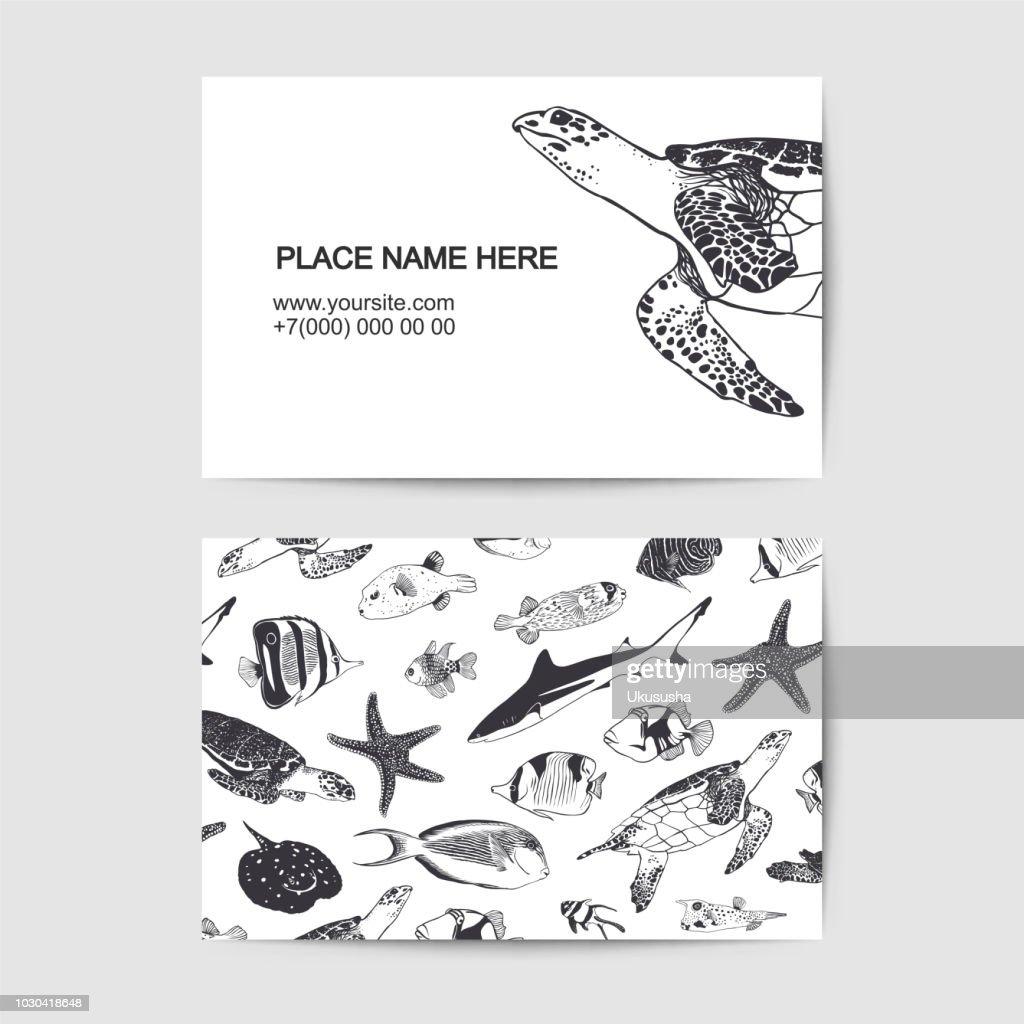 Visit card template with ocean inhabitants