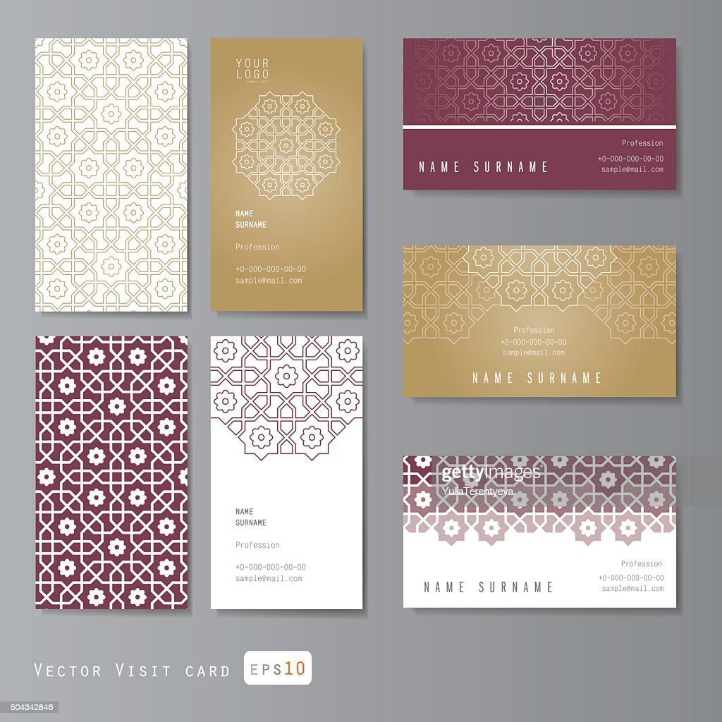 Visit cards set with arabic ornament