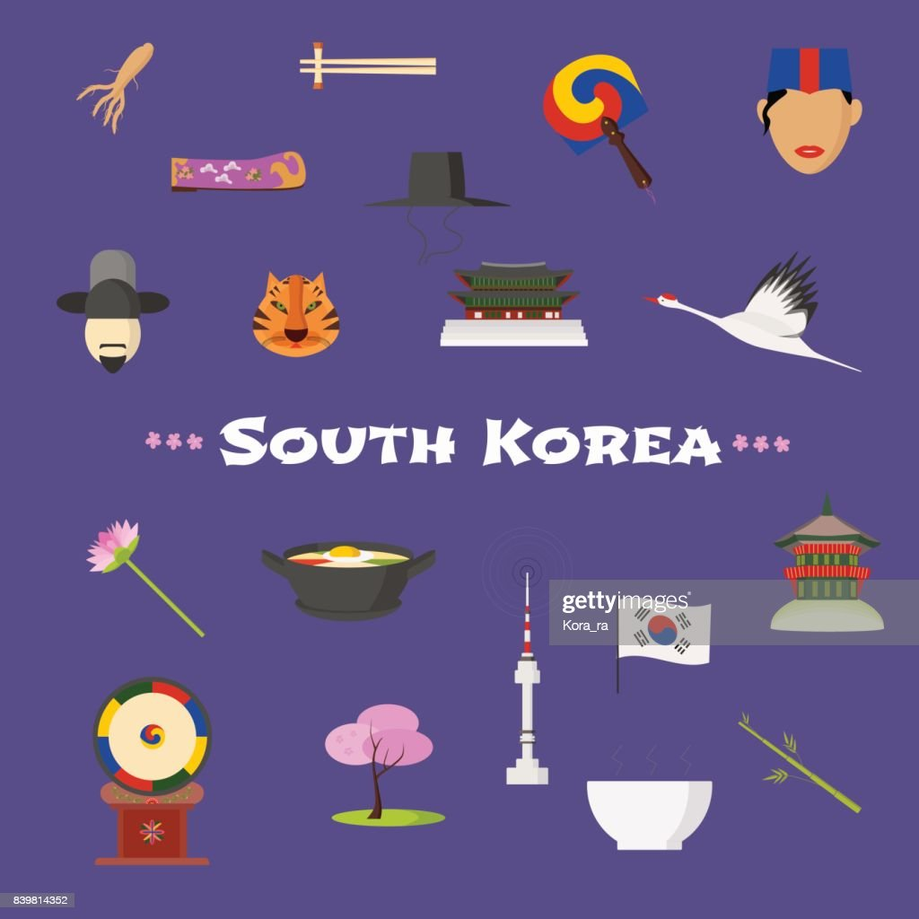 Visit South Korea vector icons set, cliparts