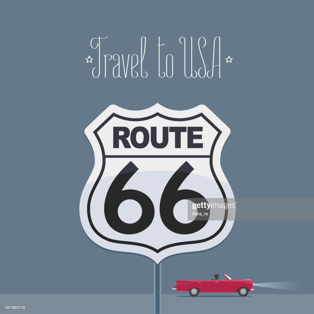 Visit USA image with route 66 sign vector illustration