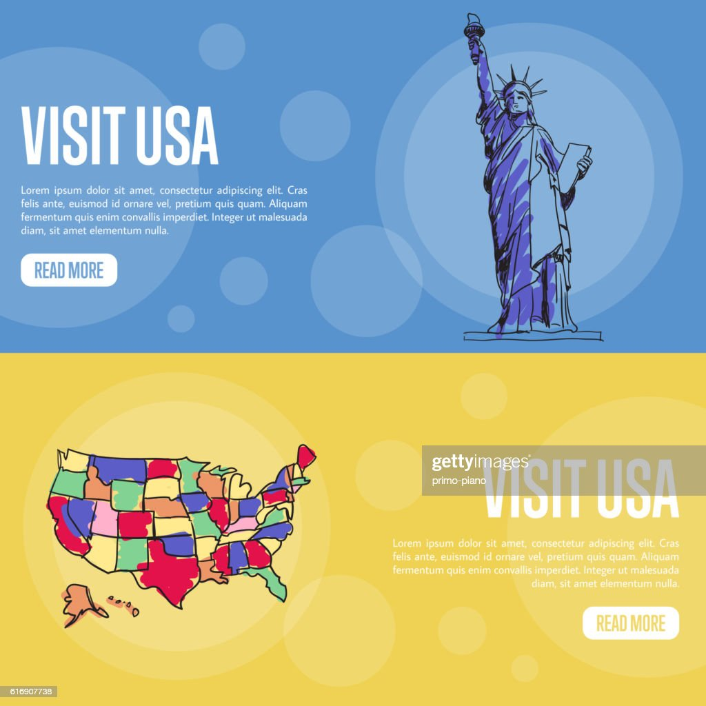 Visit USA Touristic Vector Web Banners : Vector Art