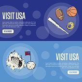 Visit USA Touristic Vector Web Banners