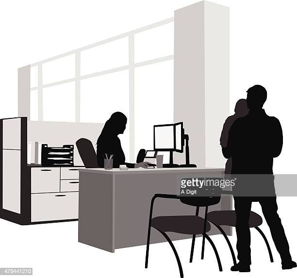 visiting mom at work - office cubicle stock illustrations, clip art, cartoons, & icons