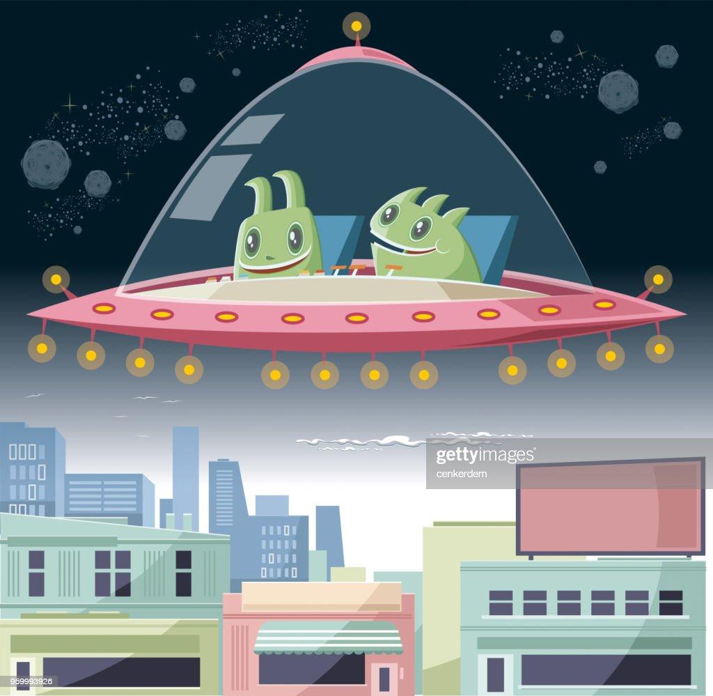 UFO-Besuch : Stock-Illustration
