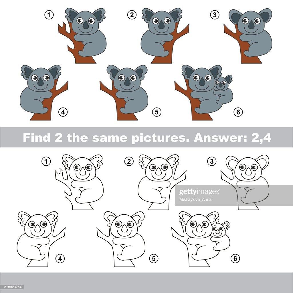 Visual game. Find hidden couple of Koalas