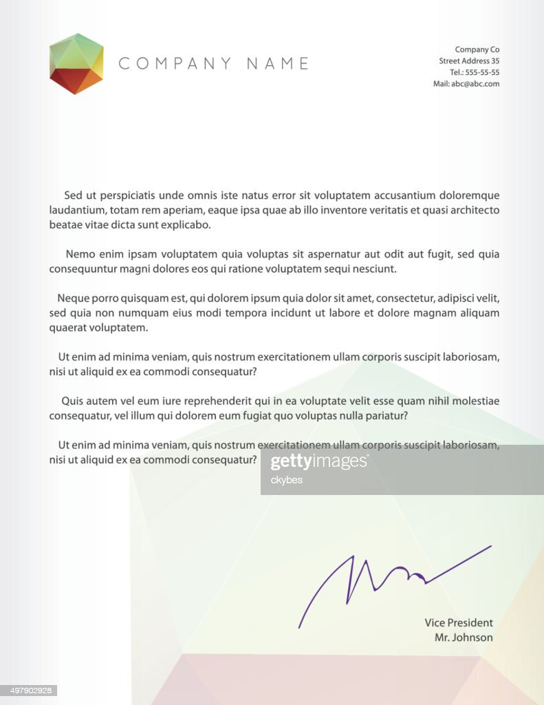 Visual identity with letter logo polygonal style Letterhead and geometric
