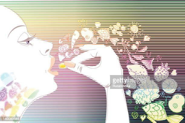 vita woman - nutritional supplement stock illustrations, clip art, cartoons, & icons
