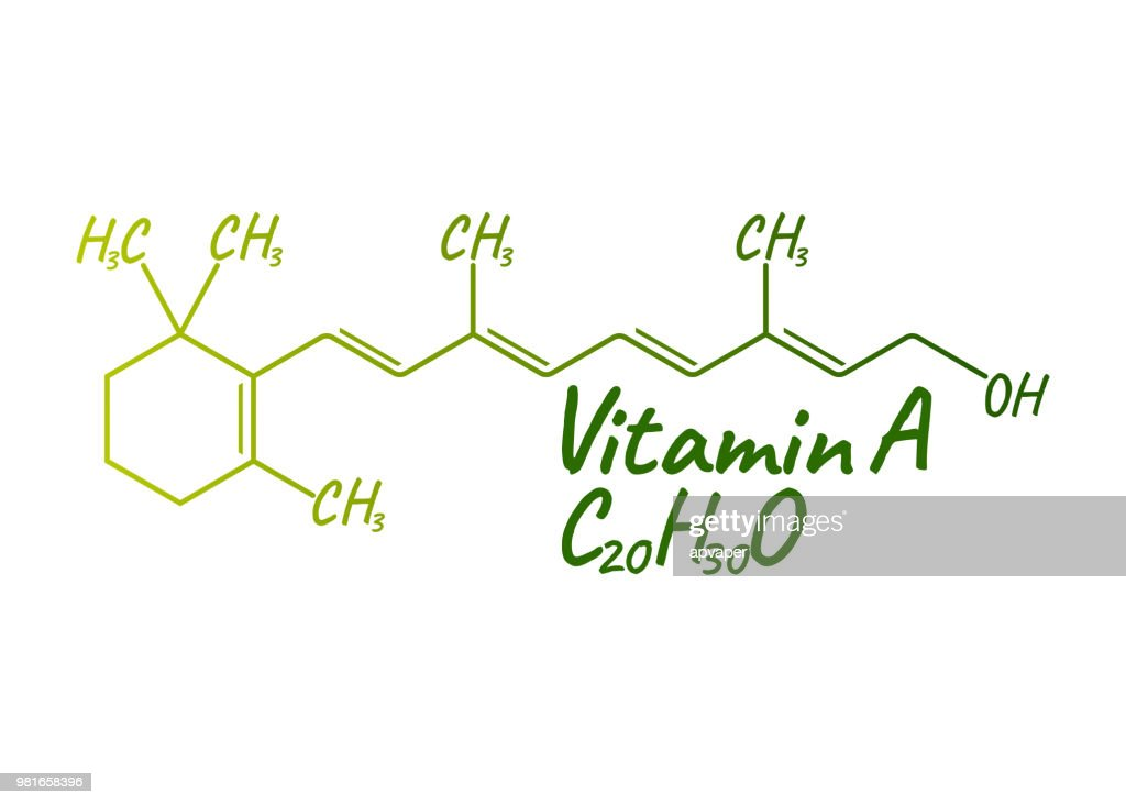Vitamin A Label and Icon. Chemical Formula and Structure Logo. Vector Illustration