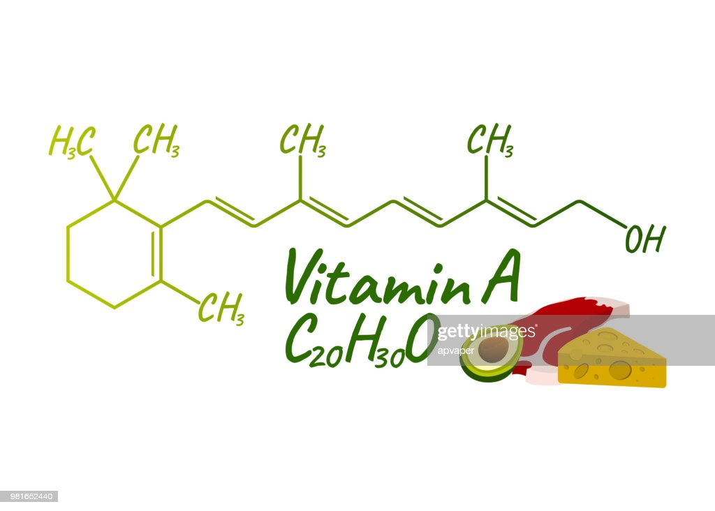 Vitamin A with Food Label and Icon. Chemical Formula and Structure Logo. Vector Illustration
