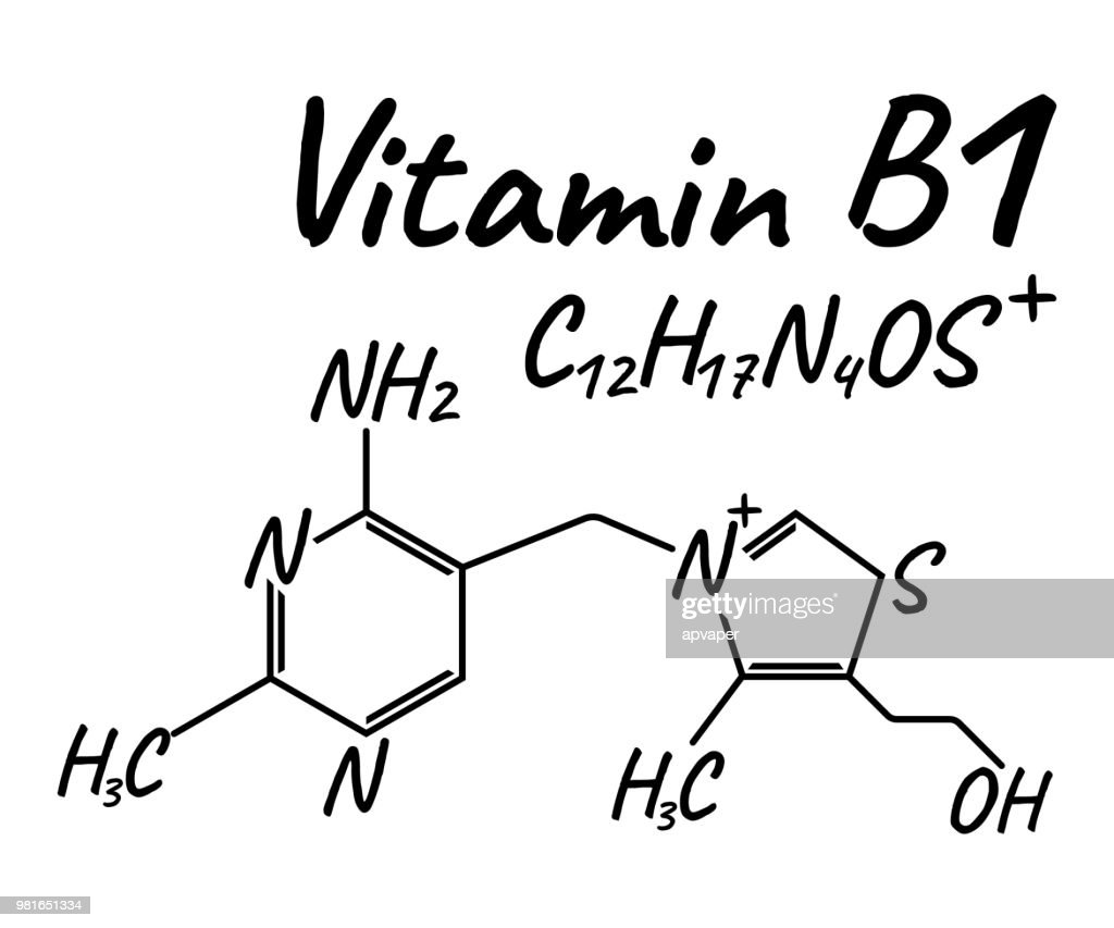 Vitamin B1 Label and Icon. Chemical Formula and Structure Logo. Vector Illustration