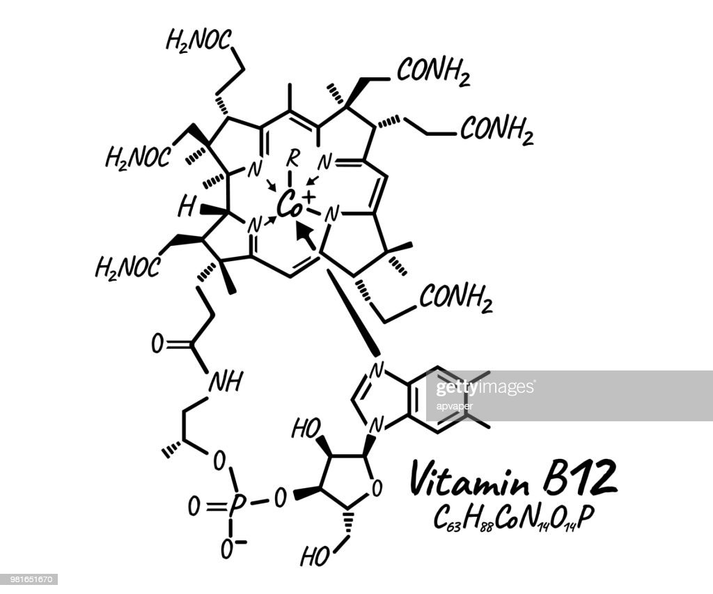 Vitamin B12 Label and Icon. Chemical Formula and Structure Logo. Vector Illustration