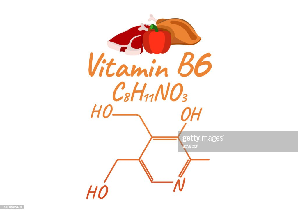 Vitamin B6 with Food Label and Icon. Chemical Formula and Structure Logo. Vector Illustration