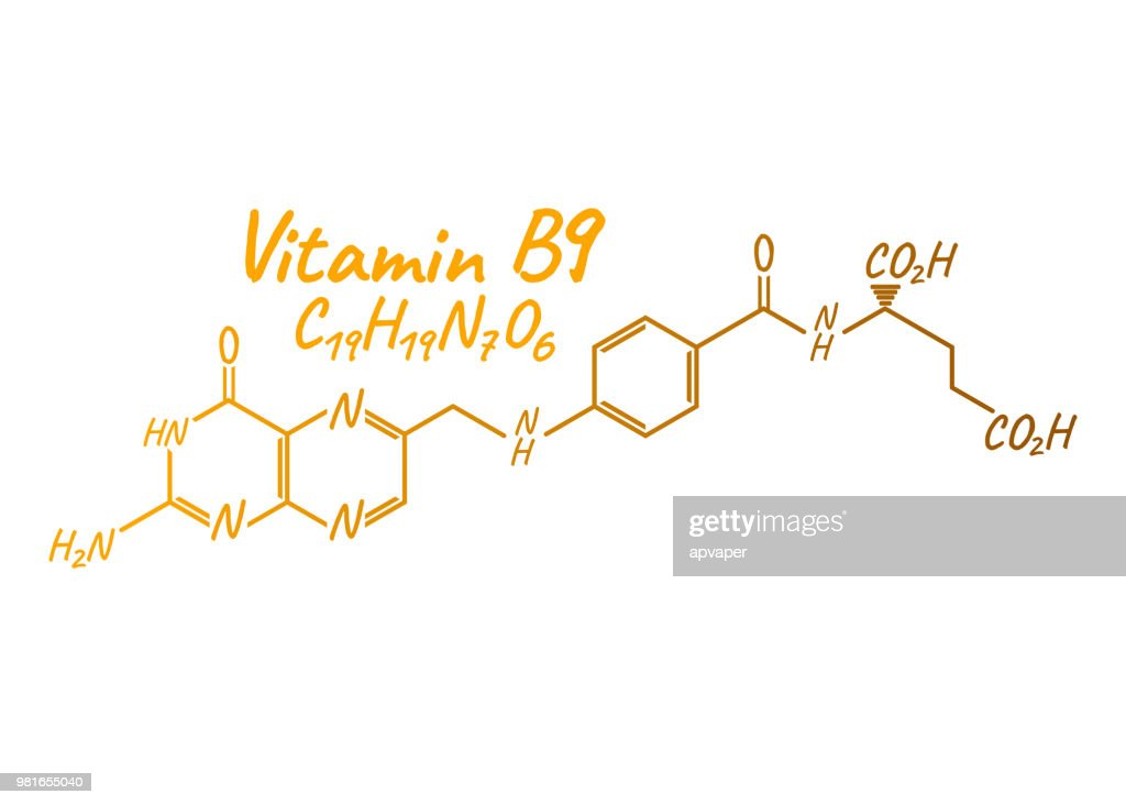 Vitamin B9 Label and Icon. Chemical Formula and Structure Logo. Vector Illustration