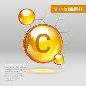 Vitamin C gold shining pill capcule icon