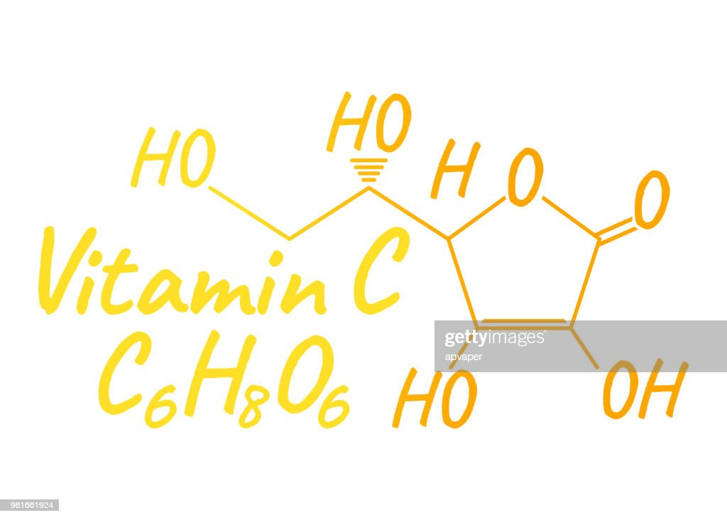 Vitamin C Label and Icon. Chemical Formula and Structure Logo. Vector Illustration