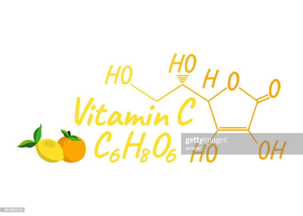 Vitamin C with Food Label and Icon. Chemical Formula and Structure Logo. Vector Illustration