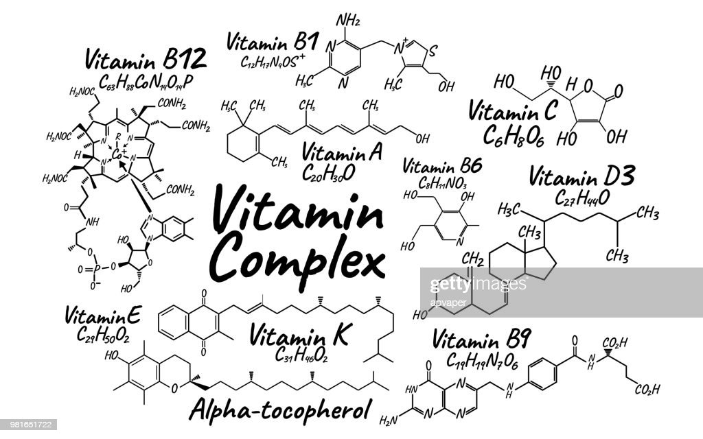 Vitamin Complex B1, B6, B9, B12, K, A, E, C Label and Icon. Chemical Formula and Structure Logo. Vector Illustration