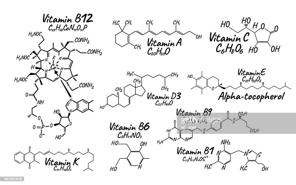 Vitamin Complex B1, B6, B9, B12, K, A, E, C Label and Icon. Chemical Formula and Structure Logo. Vector Illustration