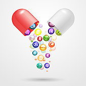 Vitamin complex pharmaceutical capsule vector realistic illustration