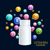 Vitamin complex vector 3D plastic bottle pills