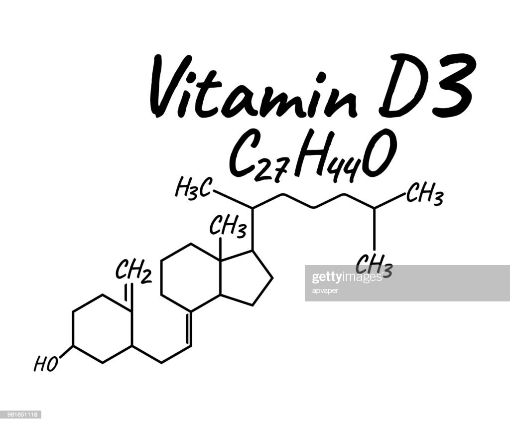Vitamin D3 Label and Icon. Chemical Formula and Structure Logo. Vector Illustration