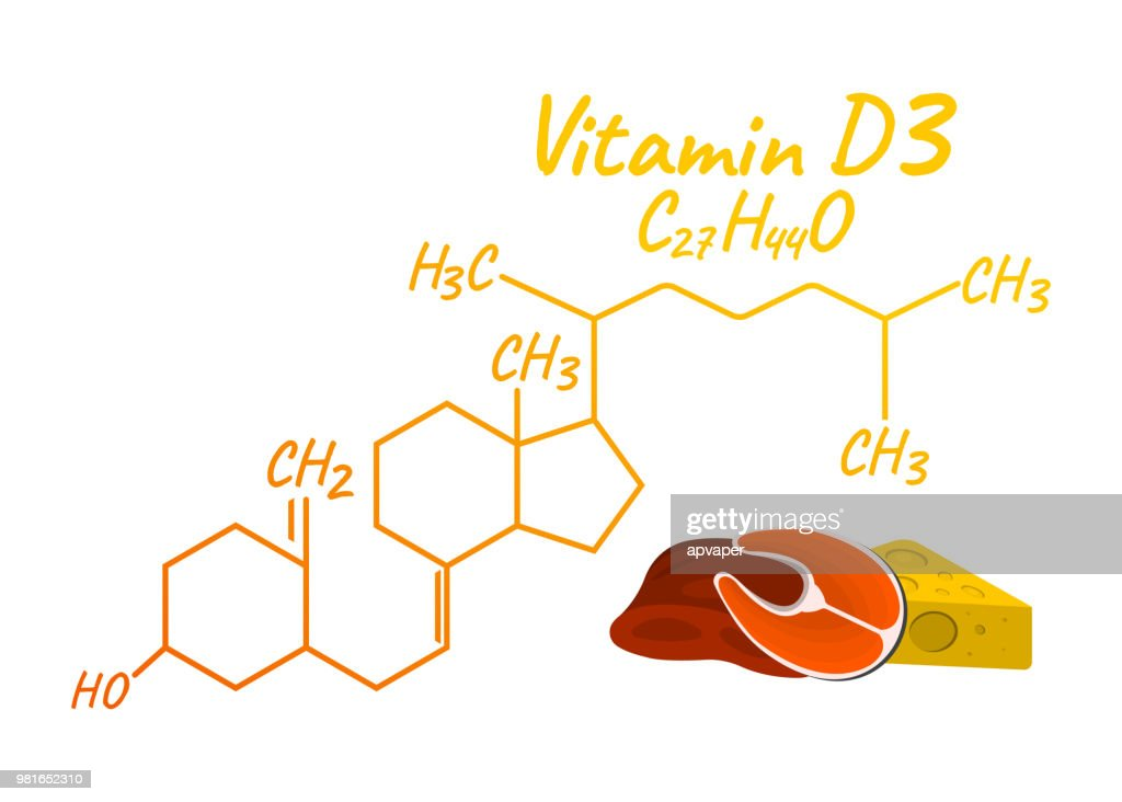 Vitamin D3 with Food Label and Icon. Chemical Formula and Structure Logo. Vector Illustration