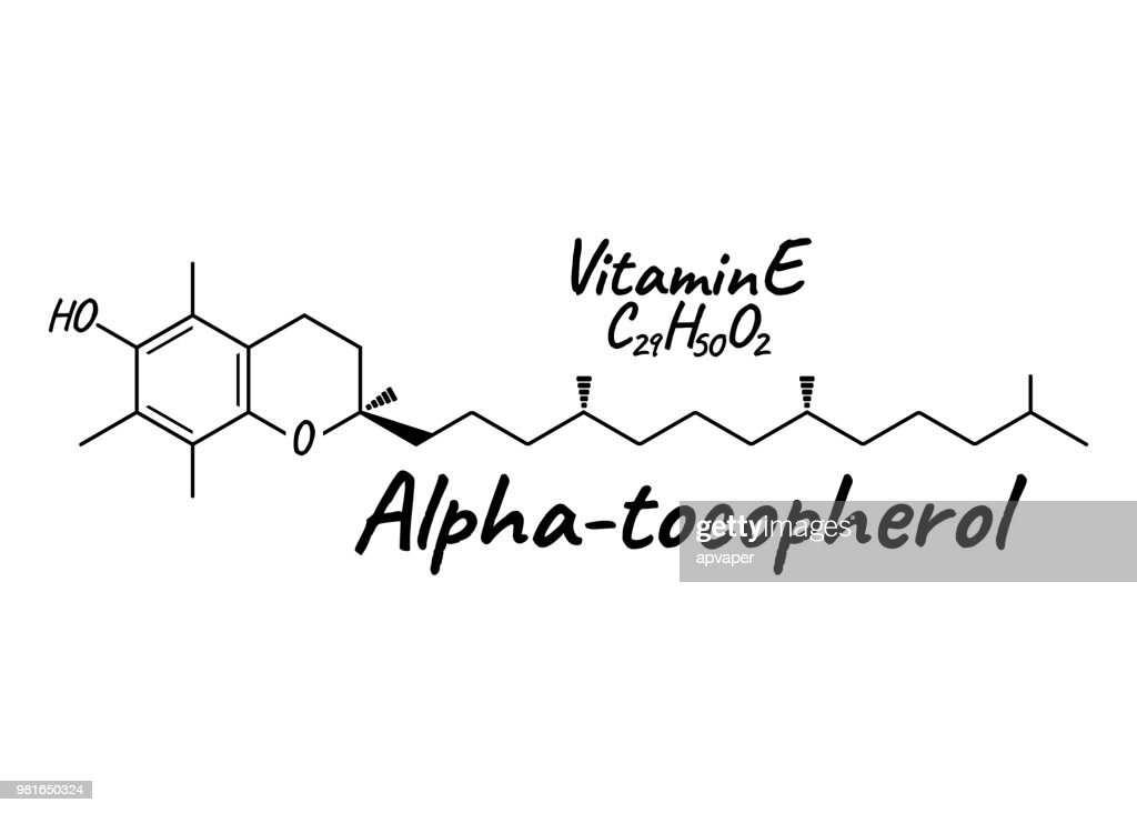Vitamin E, Alpha Tocopherol Label and Icon. Chemical Formula and Structure Logo. Vector Illustration.