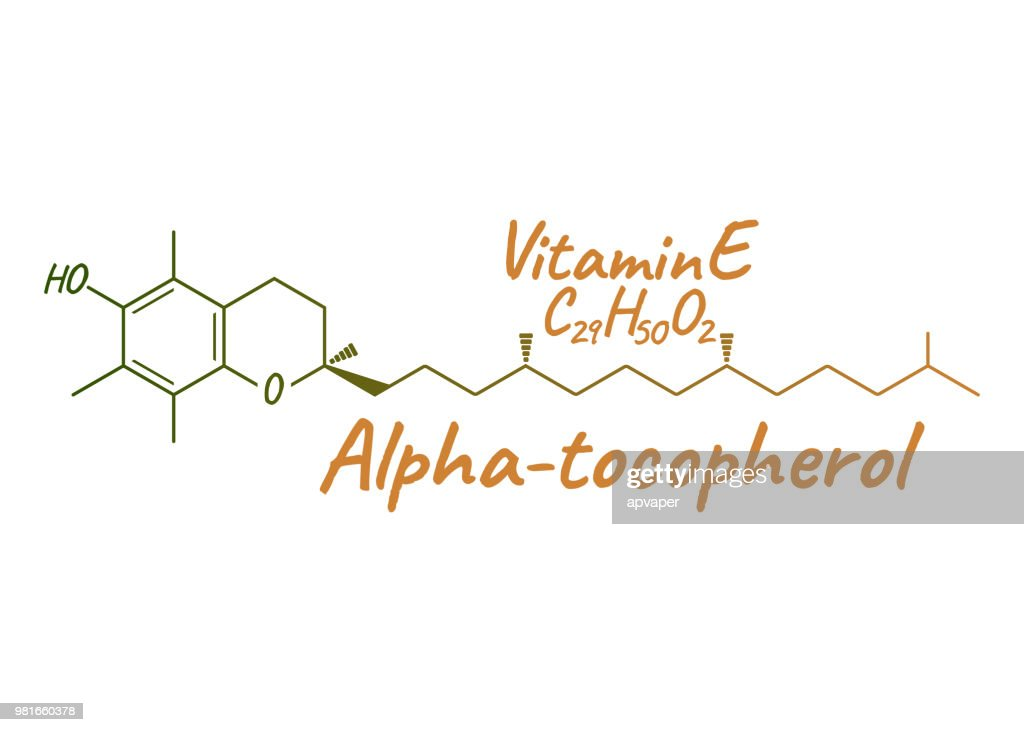 Vitamin E, Alpha Tocopherol Label and Icon. Chemical Formula and Structure Logo. Vector Illustration