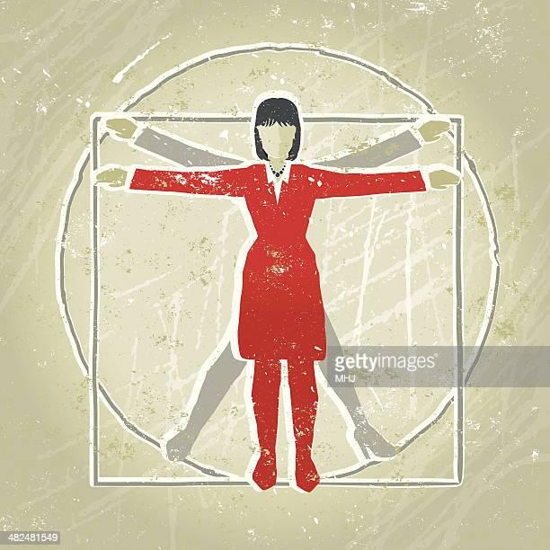 Vitruvian Businesswoman Diagram showing Proportion