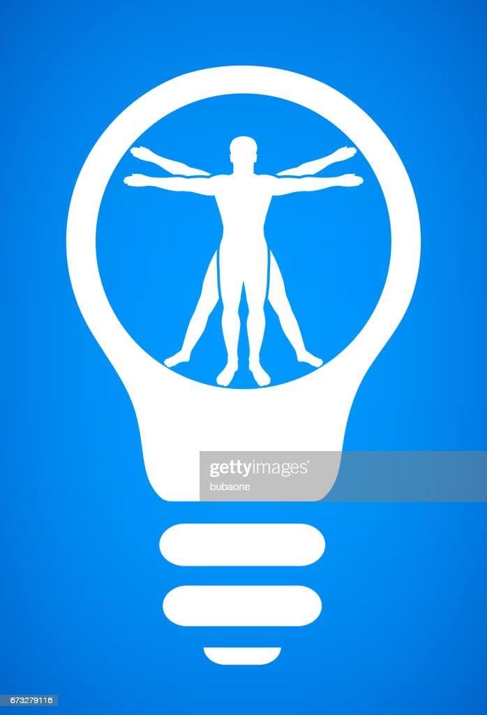 Vitruvian Man Human Anatomy Light Bulb Conceptual Vector ...